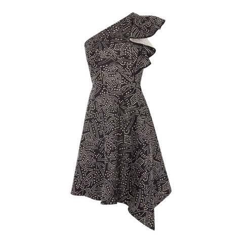 Karen Millen Black Jacquard One-Shoulder Dress