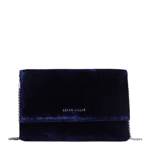 Karen Millen Blue Velvet Clutch