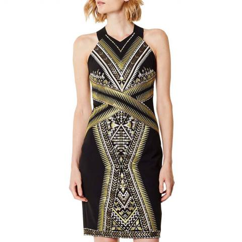 Karen Millen Black Embroidered Midi Dress