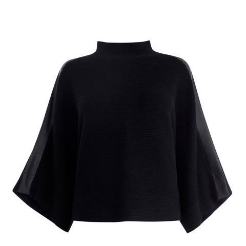 Karen Millen Black Crew Neck Wool Poncho
