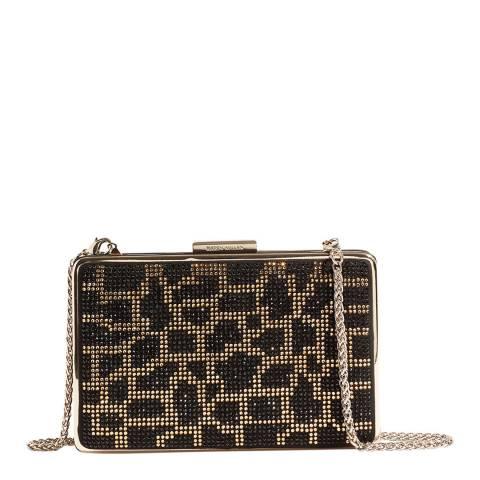 Karen Millen Black Leopard Embellished Box Clutch Bag