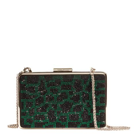Karen Millen Green Leopard Embellished Box Clutch Bag