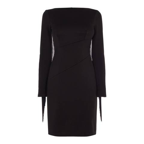 Karen Millen Black Fringe Sleeve Dress