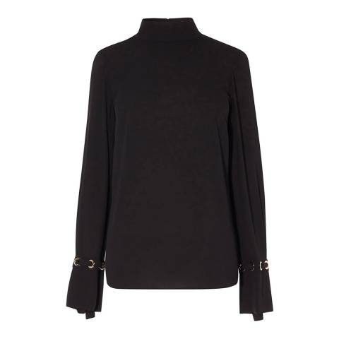 Karen Millen Black Fluid Eyelet Cuff Top