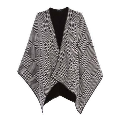 Karen Millen Black/White Dogtooth Cotton Blend Knit Cape