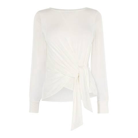 Karen Millen White Chiffon Sleeve Tie Top