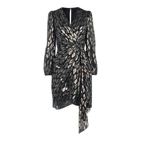 Karen Millen Gold/Black Animal Metallic Silk Blend Dress