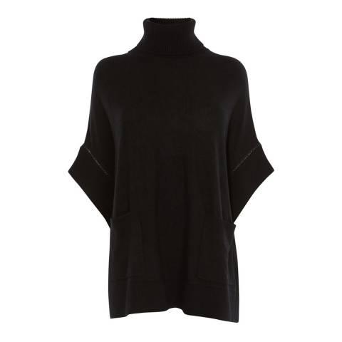 Karen Millen Black Chain Trim Wool Blend Poncho