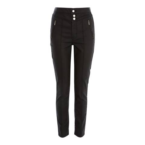 Karen Millen Black Coated Corset Jeans