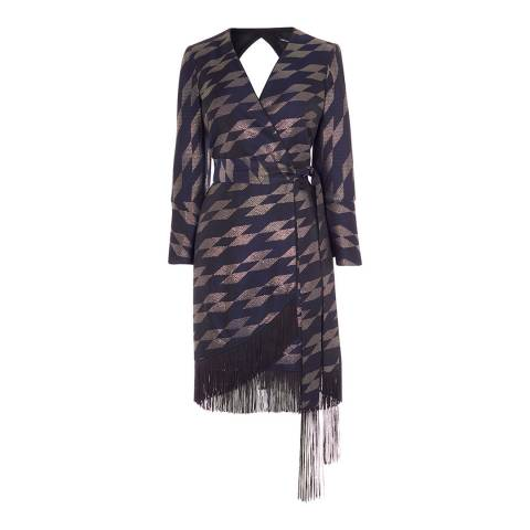 Karen Millen Navy/Multi Lurex Jacquard Wrap Dress