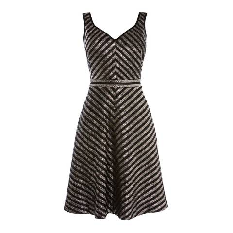 Karen Millen Black/Metallic Spliced Lurex Dress