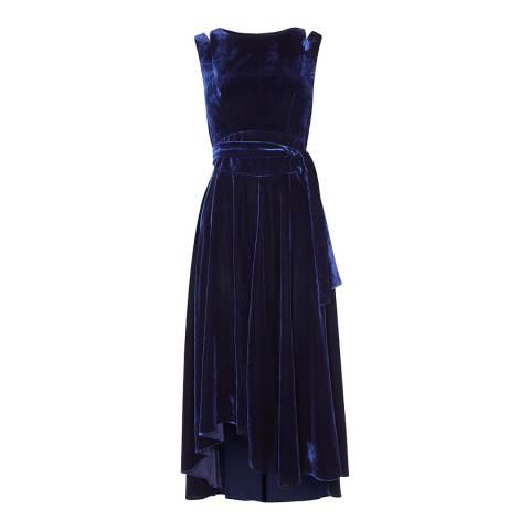 Karen Millen Navy Velvet Fluid Midi Dress