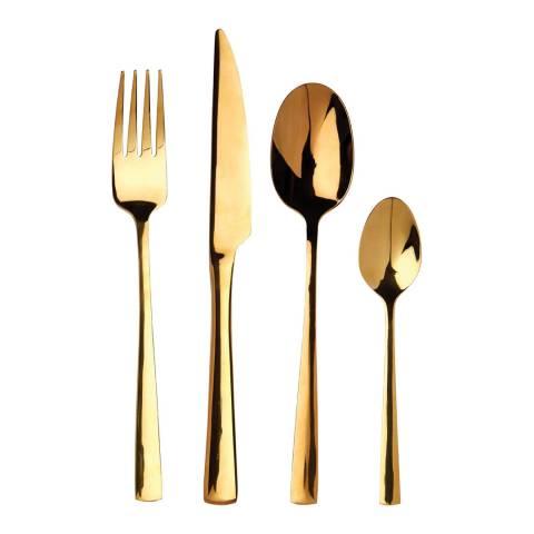 Premier Housewares Gold Finish 16 Piece Avie Cutlery Set