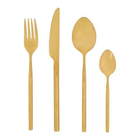 Premier Housewares Gold Finish 16 Piece Modern Retro Cutlery Set