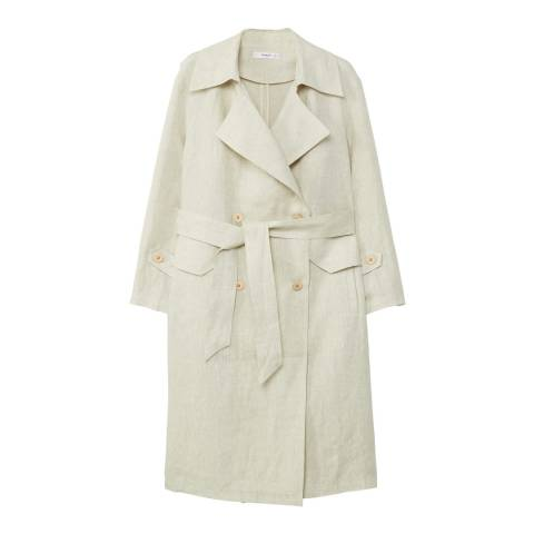 Mango Natural Linen trench