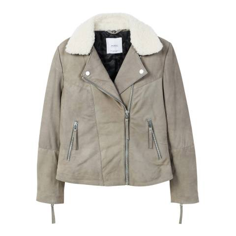 Mango Shearling collar leather jacket
