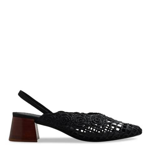 Mango Black Braided Arte Slingback Heel Shoes