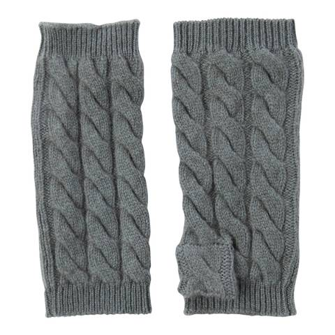 Laycuna London Khaki Cable Knit Cashmere Wrist Warmers