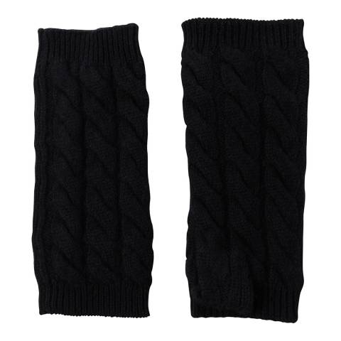 Laycuna London Black Cable Knit Cashmere Wrist Warmers