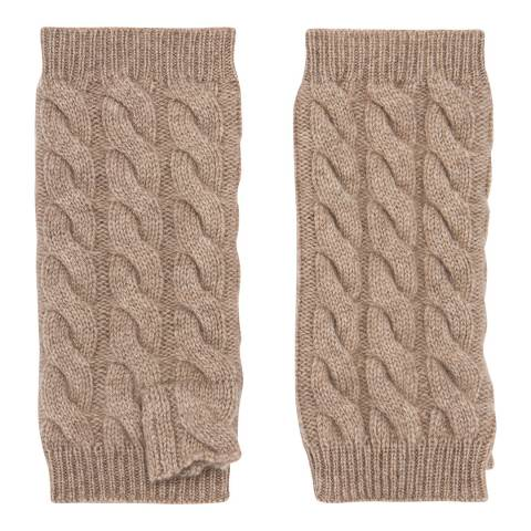 Laycuna London Beige Cashmere Cable Wrist Warmer