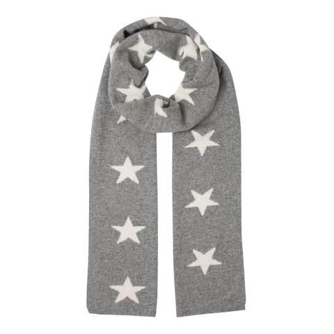 Laycuna London Grey/White Star Cashmere Scarf
