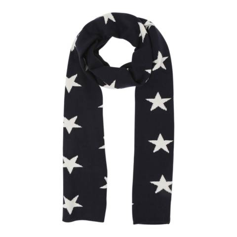 Laycuna London Navy/White Star Cashmere Scarf