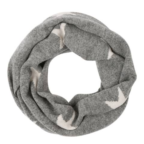 Laycuna London Grey/White Star Cashmere Snood