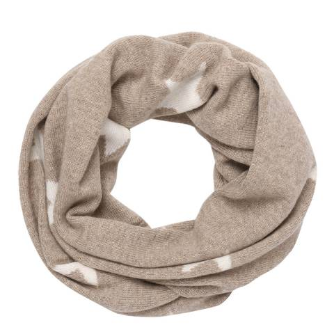 Laycuna London Beige/White Star Cashmere Snood