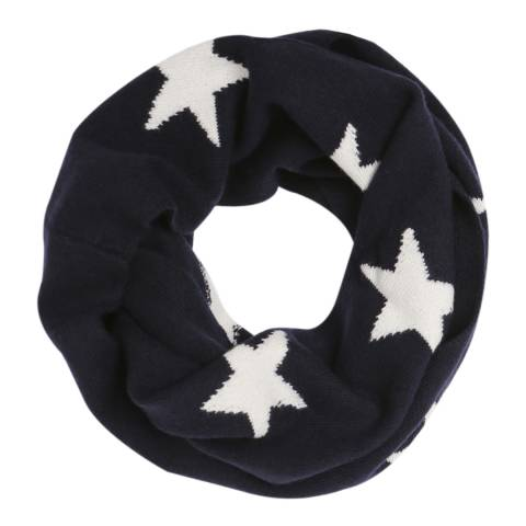 Laycuna London Navy/White Star Cashmere Snood