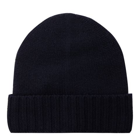 Laycuna London Navy Cashmere Ribbed Hat
