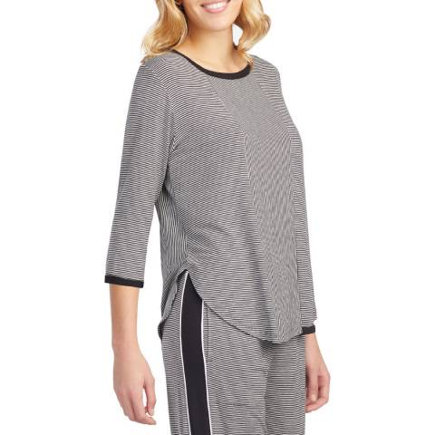 DKNY Black Stripe 3/4 Sleeve Knit Top