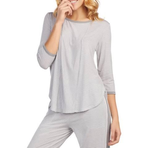 DKNY Grey Stripe 3/4 Sleeve Knit Top