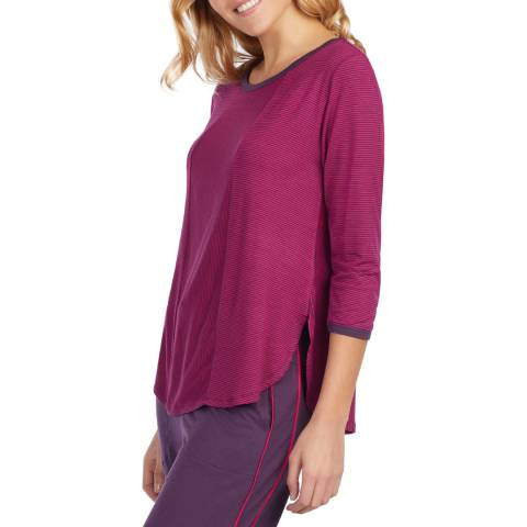 DKNY Purple Stripe 3/4 Sleeve Knit Top