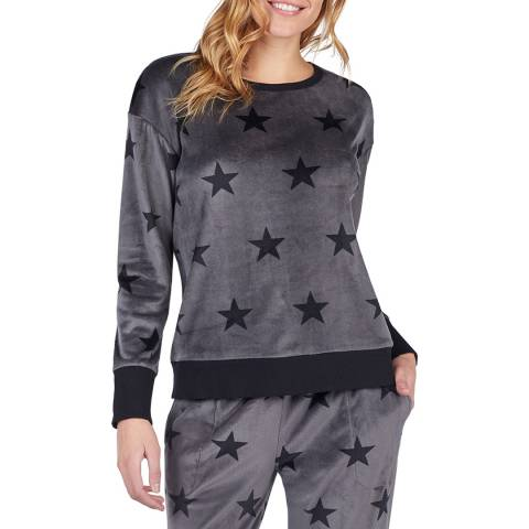 DKNY Grey Star Print Long Sleeve Top