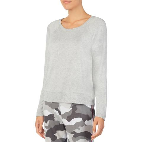 DKNY Light Grey Long Sleeve Knit Top