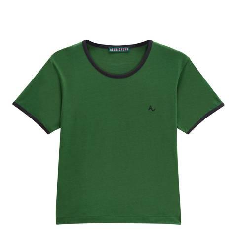 ALEXA CHUNG Green Contrast Rib Logo T-Shirt