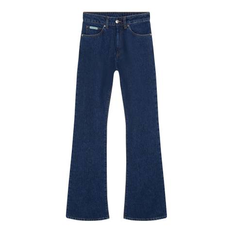 ALEXA CHUNG Indigo Wash Flared Cotton Jeans
