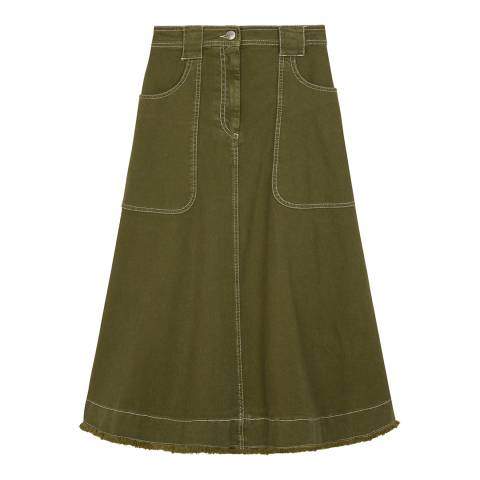 ALEXA CHUNG Khaki Patch Pocket Cotton Stretch Skirt