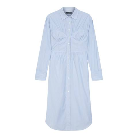 ALEXA CHUNG Pale Blue Seamed Shirt Cotton Dress