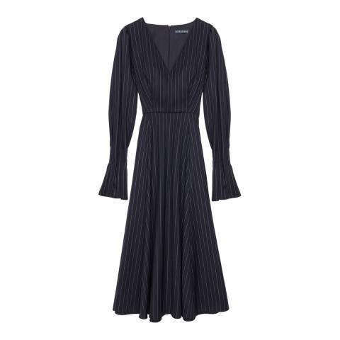 ALEXA CHUNG Black Pinstripe V Neck Wool Blend Dress