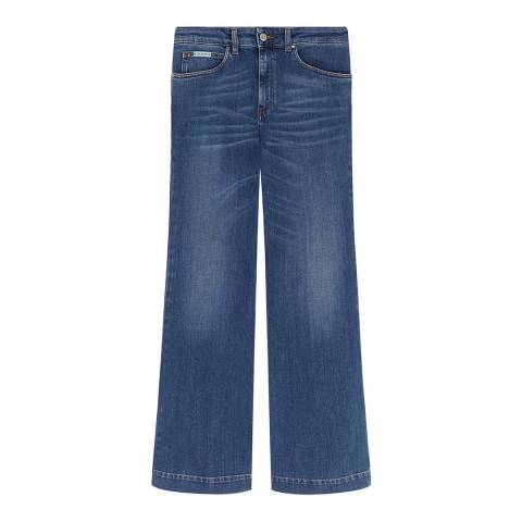 ALEXA CHUNG Blue Wide Cotton Stretch Jeans