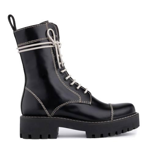 ALEXA CHUNG Black Heavy Tread Leather Flat Boot