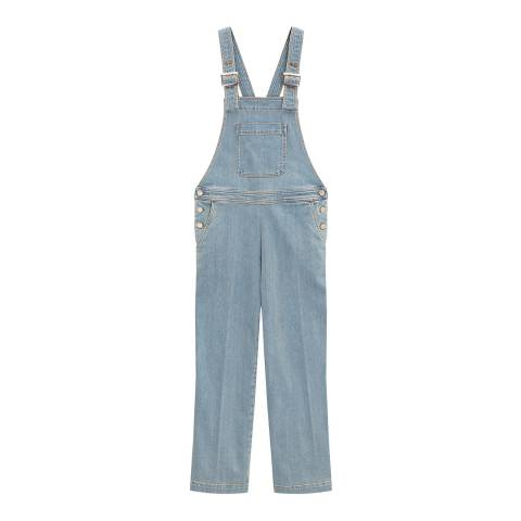 ALEXA CHUNG Light Blue Oversized Cotton Stretch Dungarees