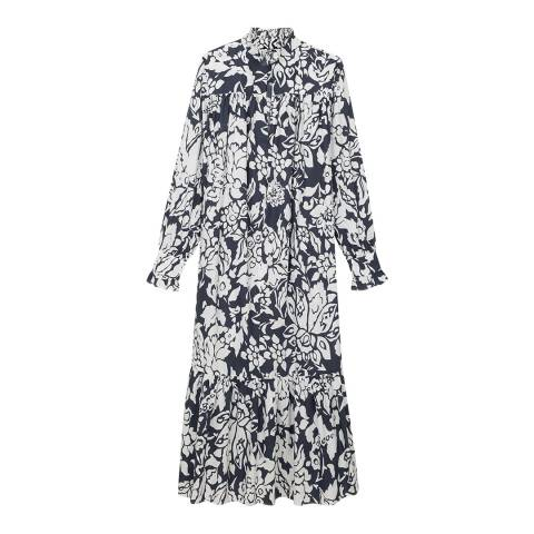 ALEXA CHUNG Multi Print Ruffle Cotton Dress