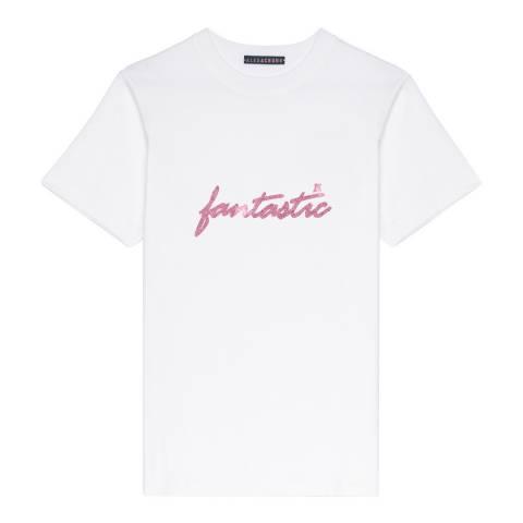 ALEXA CHUNG Cream Fantastic Pink Glitter Cotton T-Shirt