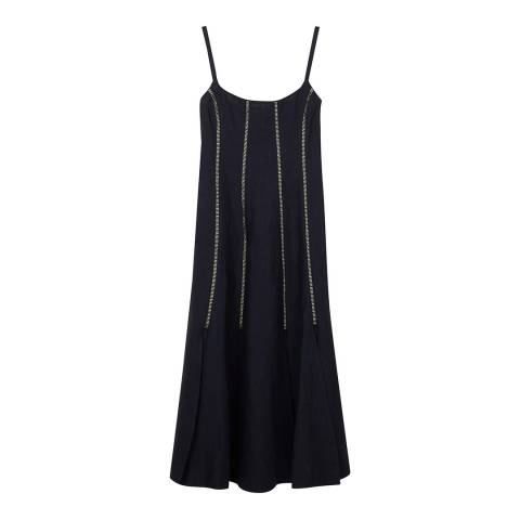 ALEXA CHUNG Navy Laddered Linen Dress