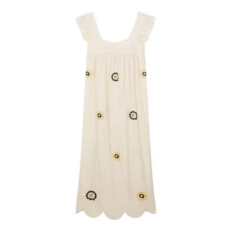 ALEXA CHUNG Beige Fifi Cotton Smock Dress