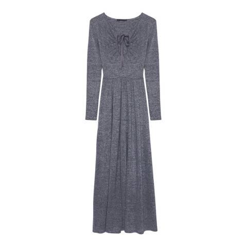 ALEXA CHUNG Silver Lurex Key Hole Maxi Dress