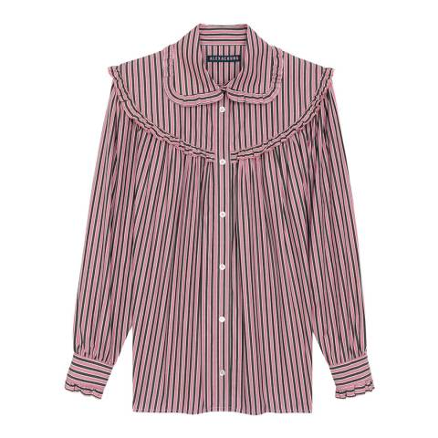 ALEXA CHUNG Pink Frill Trim Oversized Cotton Shirt