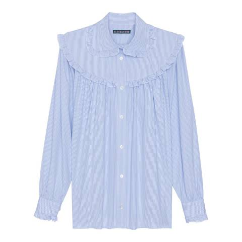 ALEXA CHUNG Pale Blue Frill Oversized Cotton Shirt